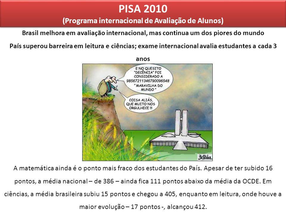 PISA 2010 (Programa internacional de Avaliação de Alunos) PISA 2010 (Programa internacional de Avaliação de Alunos) Brasil melhora em avaliação intern