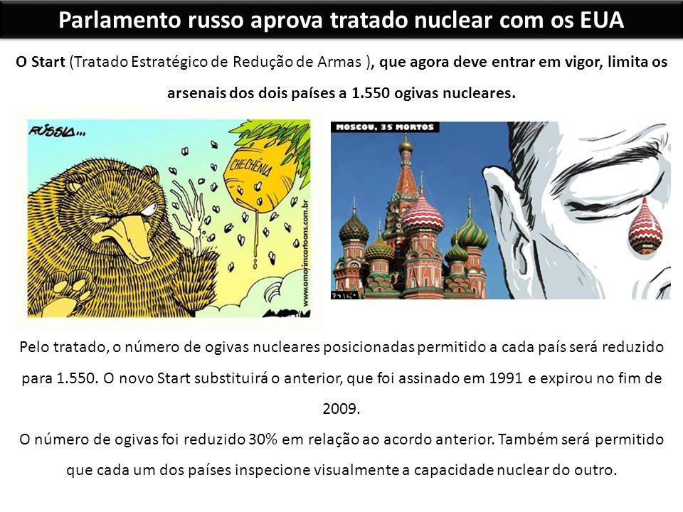Parlamento russo aprova tratado nuclear com os EUA O Start (Tratado Estratégico de Redução de Armas ), que agora deve entrar em vigor, limita os arsen
