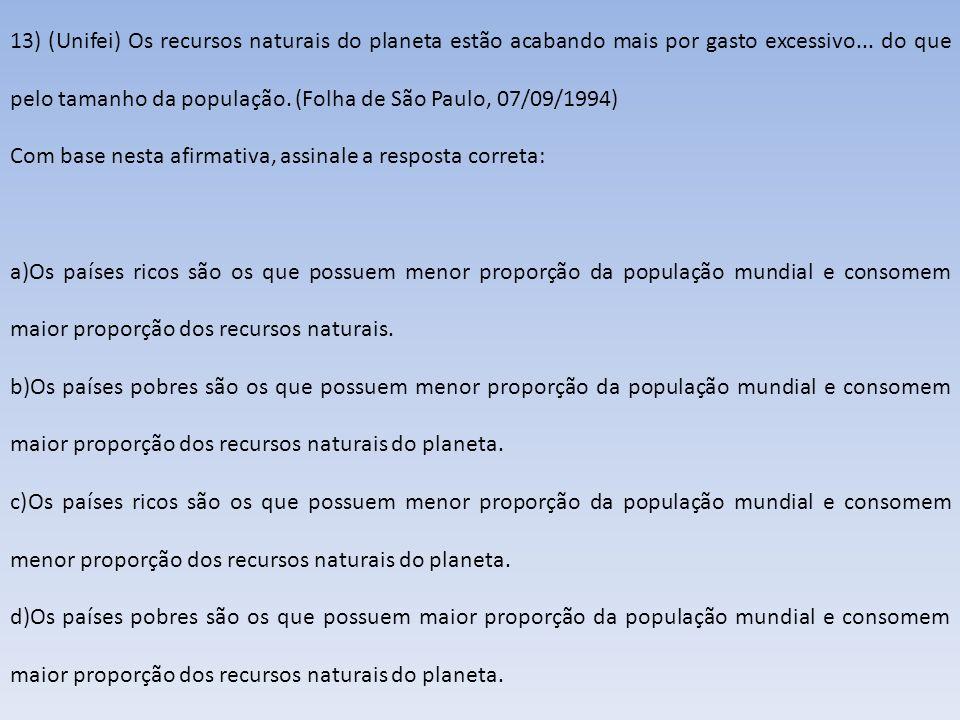 13) (Unifei) Os recursos naturais do planeta estão acabando mais por gasto excessivo... do que pelo tamanho da população. (Folha de São Paulo, 07/09/1
