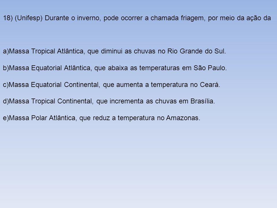 18) (Unifesp) Durante o inverno, pode ocorrer a chamada friagem, por meio da ação da a)Massa Tropical Atlântica, que diminui as chuvas no Rio Grande d