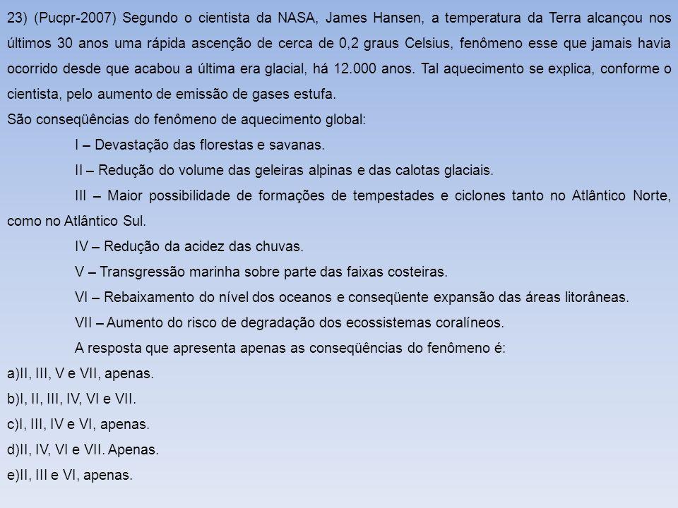23) (Pucpr-2007) Segundo o cientista da NASA, James Hansen, a temperatura da Terra alcançou nos últimos 30 anos uma rápida ascenção de cerca de 0,2 gr