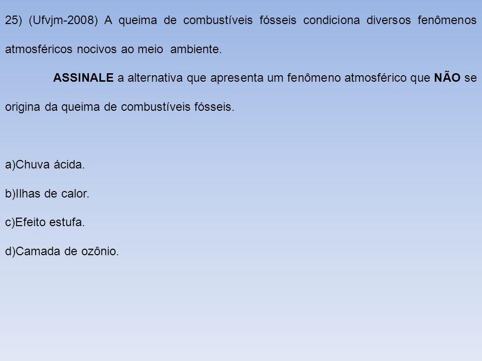 25) (Ufvjm-2008) A queima de combustíveis fósseis condiciona diversos fenômenos atmosféricos nocivos ao meio ambiente. ASSINALE a alternativa que apre