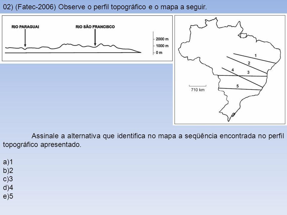 02) (Fatec-2006) Observe o perfil topográfico e o mapa a seguir. Assinale a alternativa que identifica no mapa a seqüência encontrada no perfil topogr