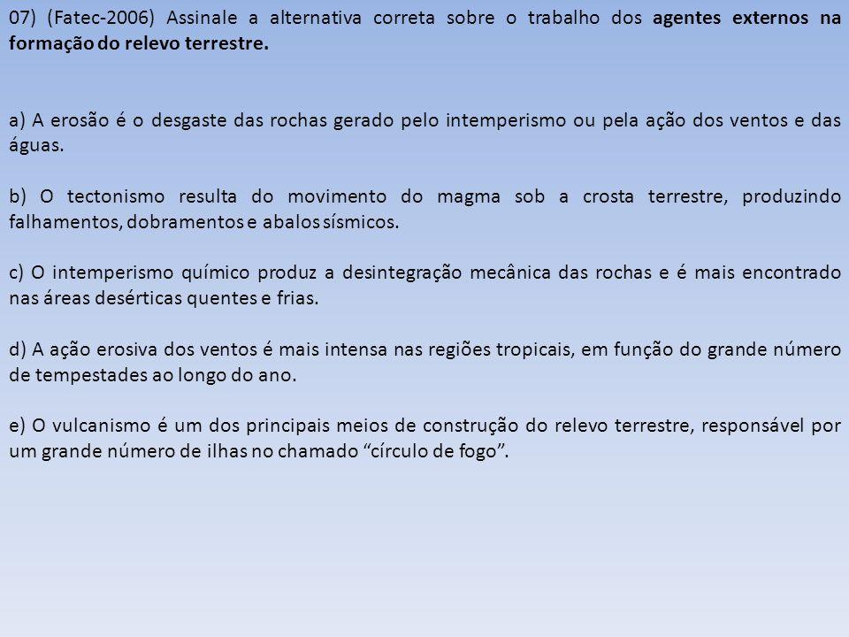 08) (Fatec-2006) Observe o mapa que apresenta os domínios morfoclimáticos do Brasil.