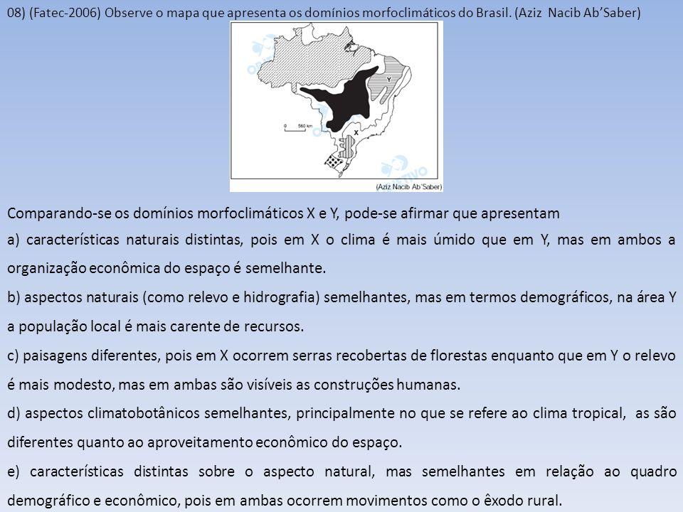 08) (Fatec-2006) Observe o mapa que apresenta os domínios morfoclimáticos do Brasil. (Aziz Nacib AbSaber) Comparando-se os domínios morfoclimáticos X