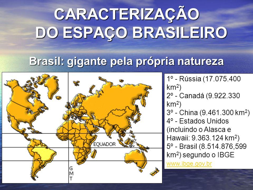 Brasil: gigante pela própria natureza 1º - Rússia (17.075.400 km 2 ) 2º - Canadá (9.922.330 km 2 ) 3º - China (9.461.300 km 2 ) 4º - Estados Unidos (i