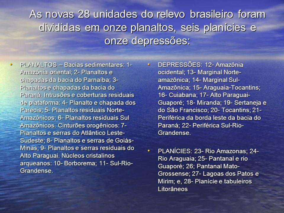 As novas 28 unidades do relevo brasileiro foram divididas em onze planaltos, seis planícies e onze depressões: PLANALTOS – Bacias sedimentares: 1- Ama