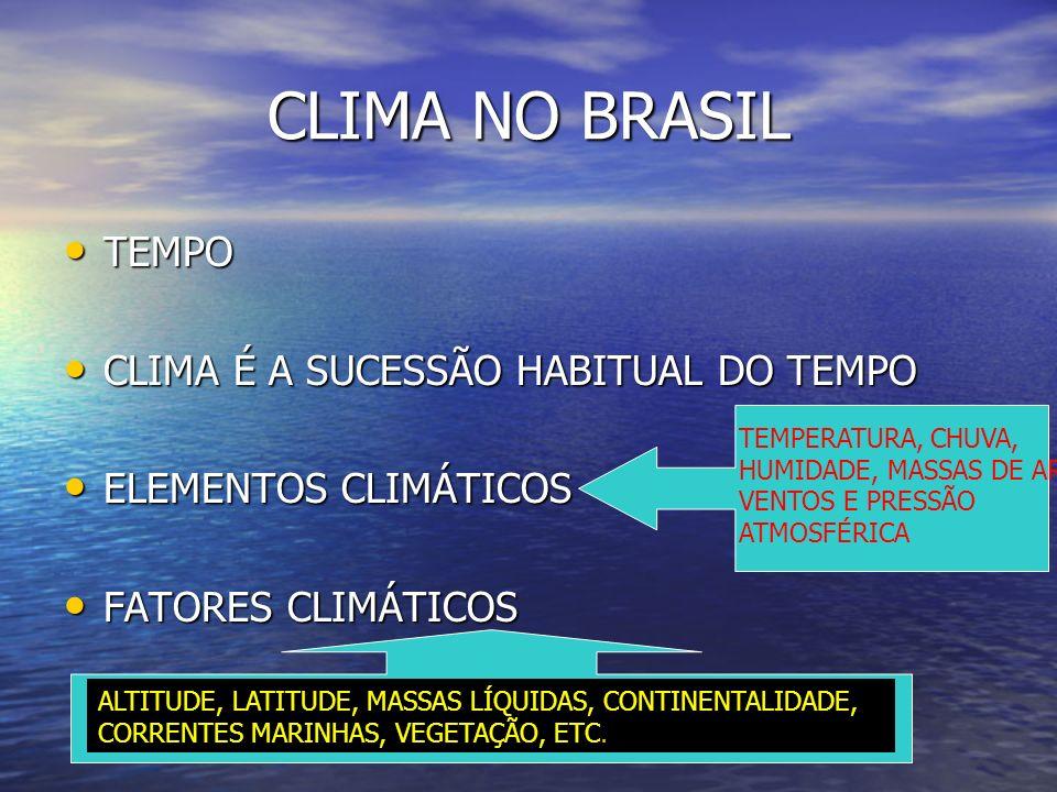 TEMPO TEMPO CLIMA É A SUCESSÃO HABITUAL DO TEMPO CLIMA É A SUCESSÃO HABITUAL DO TEMPO ELEMENTOS CLIMÁTICOS ELEMENTOS CLIMÁTICOS FATORES CLIMÁTICOS FAT