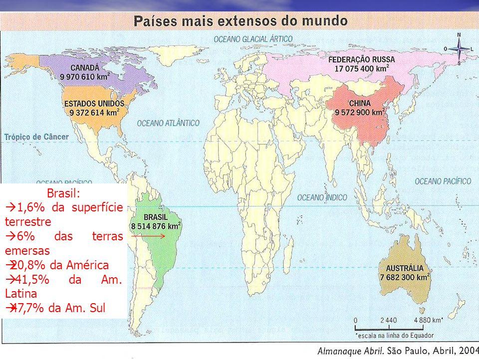 Brasil: posição geográfica e extensão territorial Com uma área aproximada de 8.514.876,599 km 2 (há controvérsias sobre essa área), o Brasil é o 5º ma