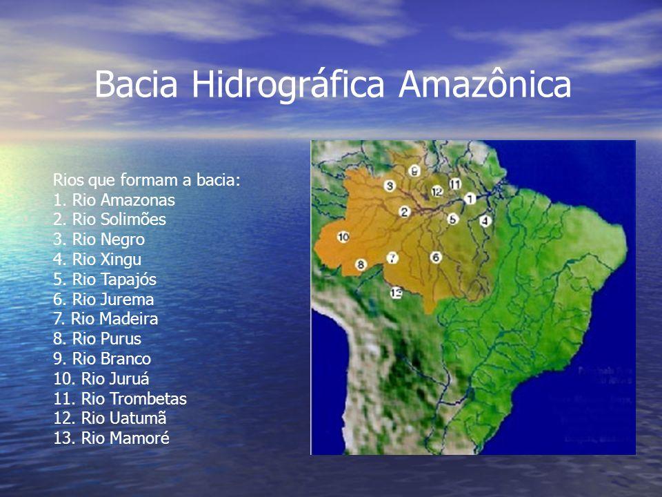 Bacia Hidrográfica Amazônica Rios que formam a bacia: 1. Rio Amazonas 2. Rio Solimões 3. Rio Negro 4. Rio Xingu 5. Rio Tapajós 6. Rio Jurema 7. Rio Ma