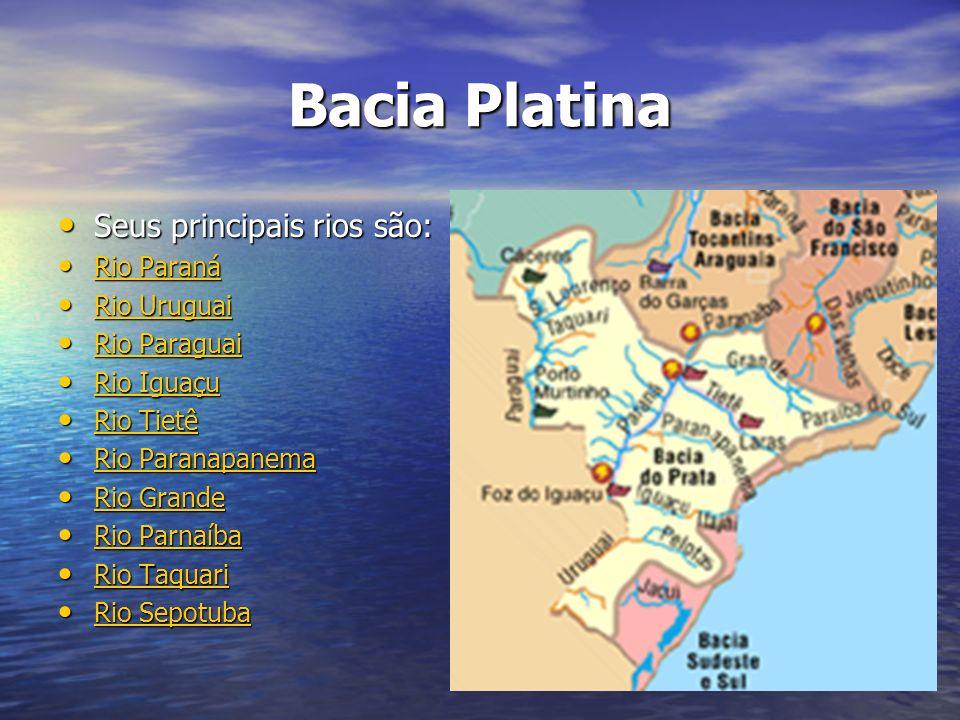 Bacia Platina Seus principais rios são: Seus principais rios são: Rio Paraná Rio Paraná Rio Paraná Rio Paraná Rio Uruguai Rio Uruguai Rio Uruguai Rio