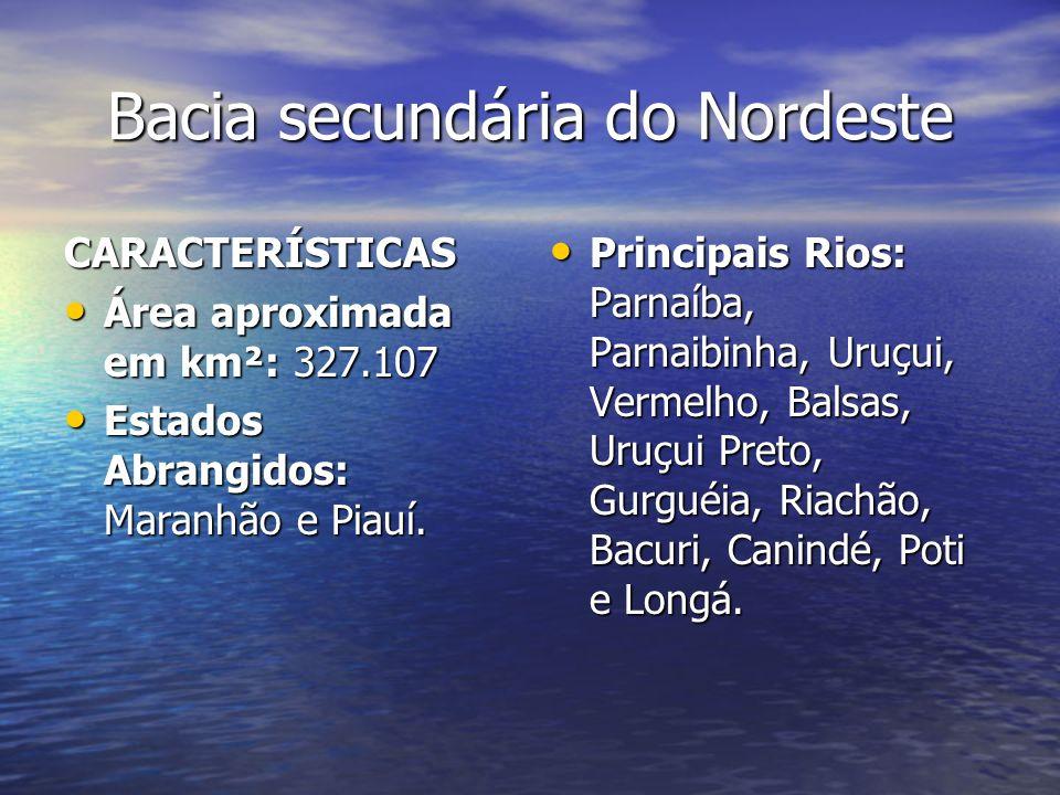 Bacia secundária do Nordeste CARACTERÍSTICAS Área aproximada em km²: 327.107 Área aproximada em km²: 327.107 Estados Abrangidos: Maranhão e Piauí. Est