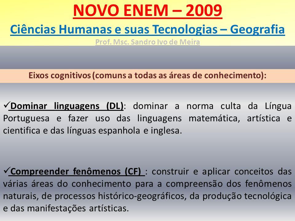 NOVO ENEM – 2009 Ciências Humanas e suas Tecnologias – Geografia Prof. Msc. Sandro Ivo de Meira Eixos cognitivos (comuns a todas as áreas de conhecime