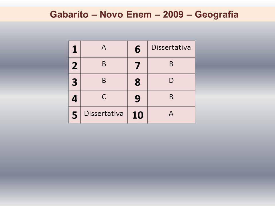 Gabarito – Novo Enem – 2009 – Geografia 1 A 6 Dissertativa 2 B 7 B 3 B 8 D 4 C 9 B 5 10 A