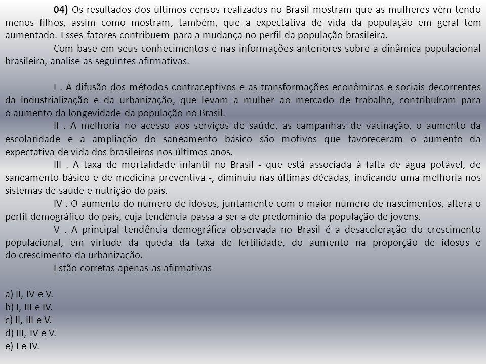 04) Os resultados dos últimos censos realizados no Brasil mostram que as mulheres vêm tendo menos filhos, assim como mostram, também, que a expectativ
