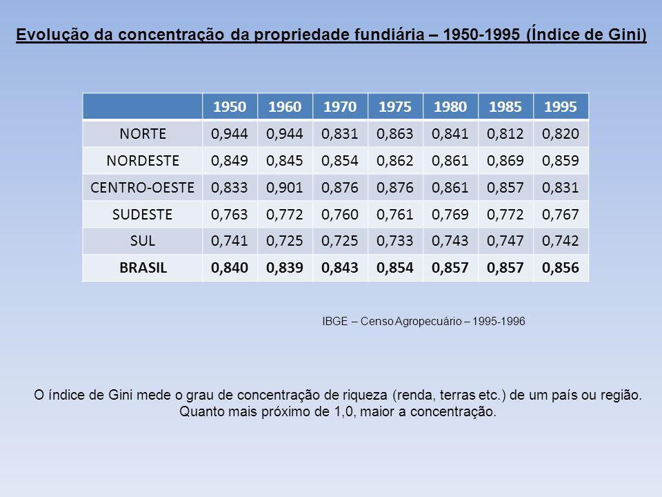 Evolução da concentração da propriedade fundiária – 1950-1995 (Índice de Gini) 1950196019701975198019851995 NORTE0,944 0,8310,8630,8410,8120,820 NORDE