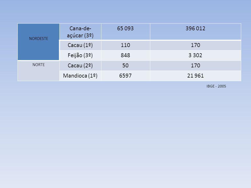 NORDESTE Cana-de- açúcar (3º) 65 093396 012 Cacau (1º)110170 Feijão (3º)8483 302 NORTE Cacau (2º)50170 Mandioca (1º)659721 961 IBGE - 2005