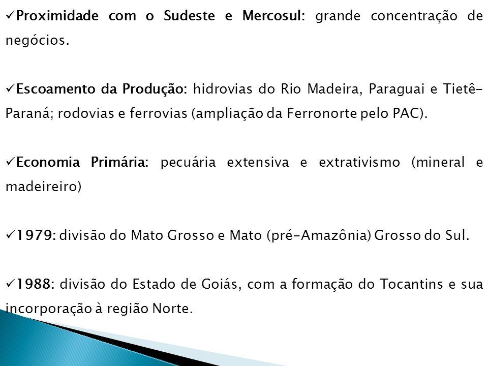 Proximidade com o Sudeste e Mercosul: grande concentração de negócios. Escoamento da Produção: hidrovias do Rio Madeira, Paraguai e Tietê- Paraná; rod