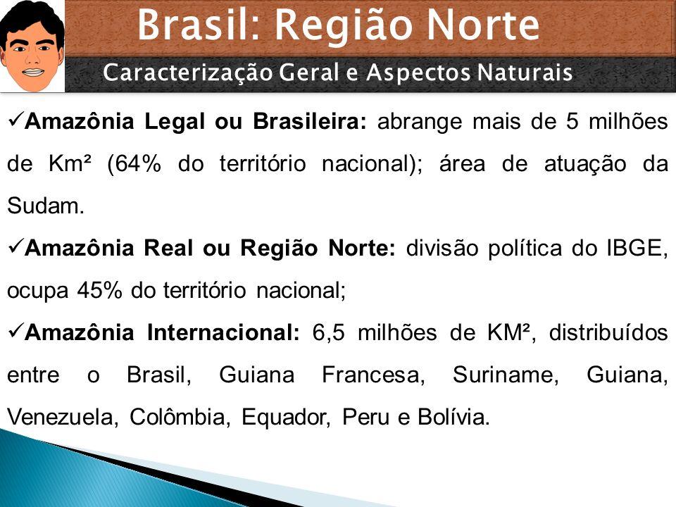 Brasil: Região Norte Caracterização Geral e Aspectos Naturais Amazônia Legal ou Brasileira: abrange mais de 5 milhões de Km² (64% do território nacion