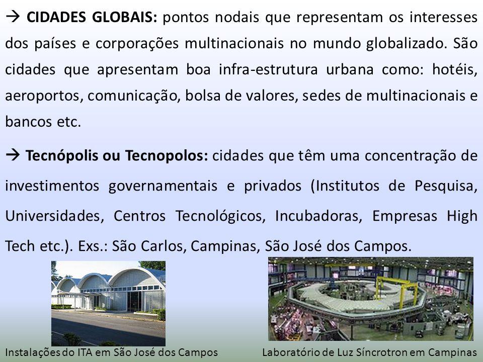 CIDADES GLOBAIS: pontos nodais que representam os interesses dos países e corporações multinacionais no mundo globalizado. São cidades que apresentam