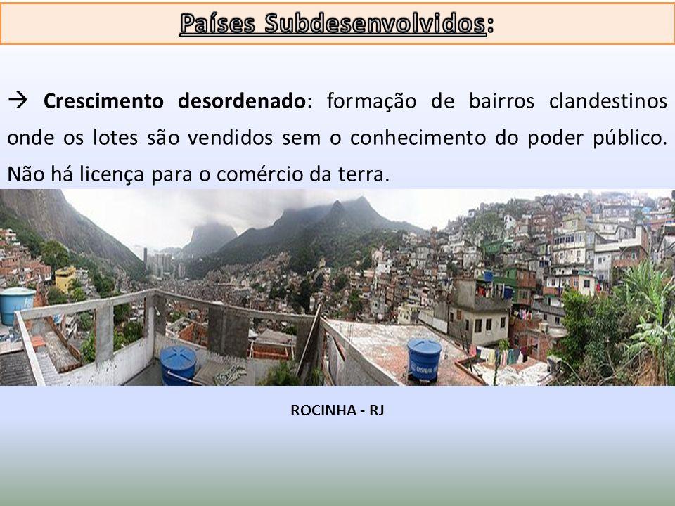 Crescimento desordenado: formação de bairros clandestinos onde os lotes são vendidos sem o conhecimento do poder público. Não há licença para o comérc