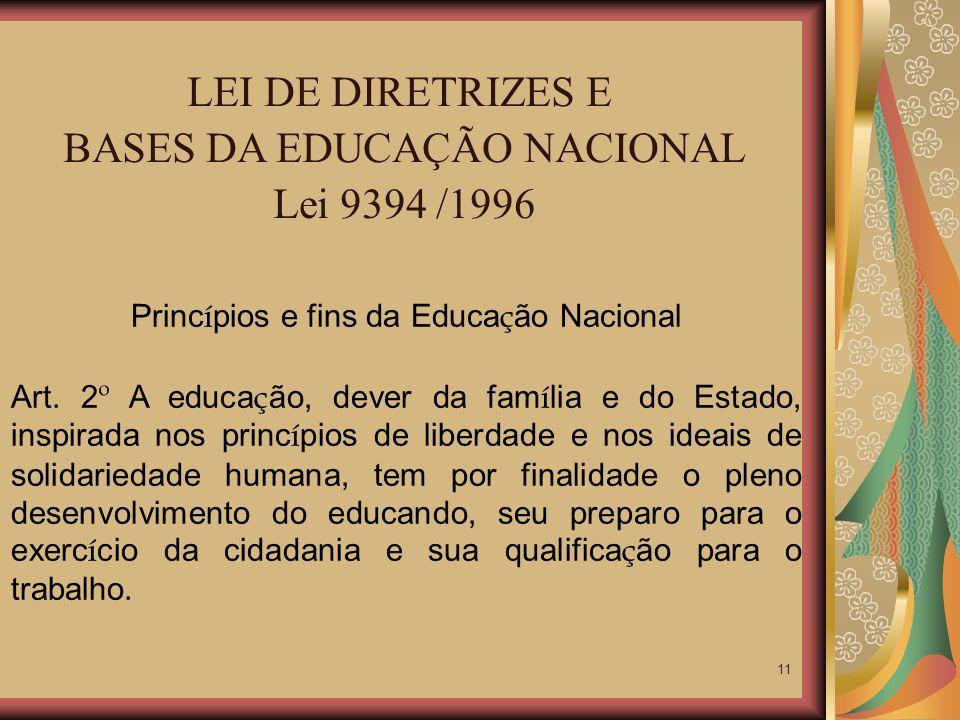 11 LEI DE DIRETRIZES E BASES DA EDUCAÇÃO NACIONAL Lei 9394 /1996 Princ í pios e fins da Educa ç ão Nacional Art. 2 º A educa ç ão, dever da fam í lia