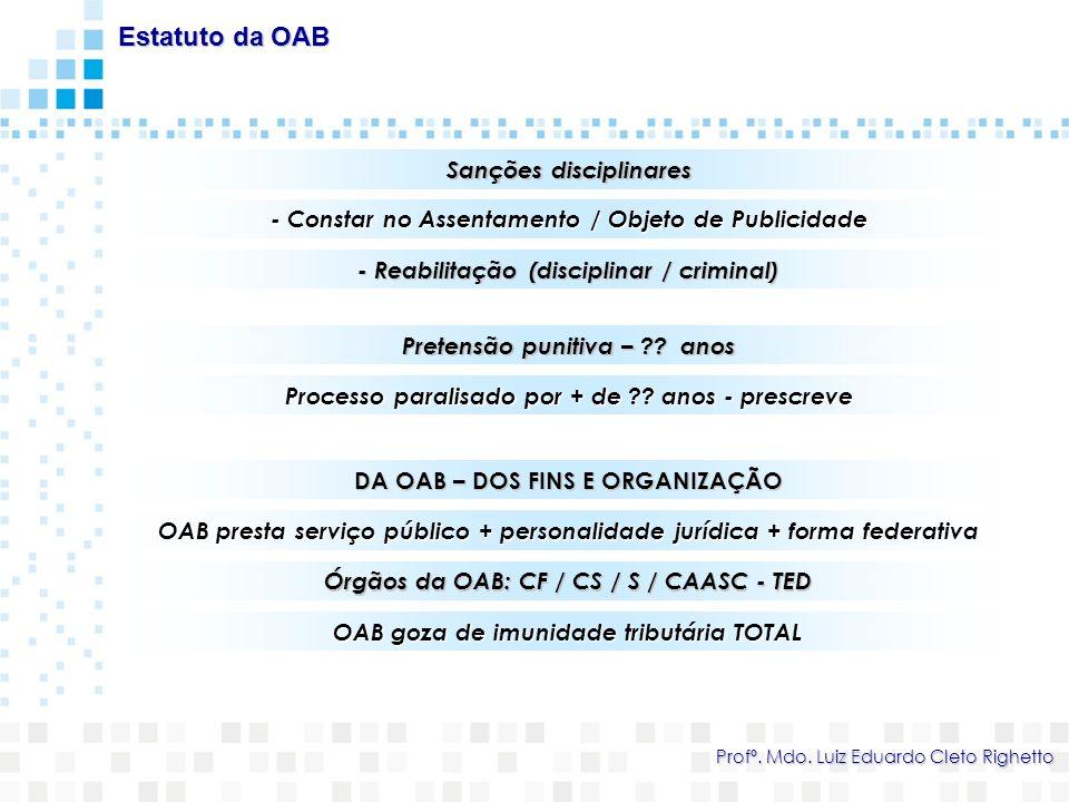 Sanções disciplinares Estatuto da OAB Profº. Mdo. Luiz Eduardo Cleto Righetto - Constar no Assentamento / Objeto de Publicidade - Reabilitação (discip