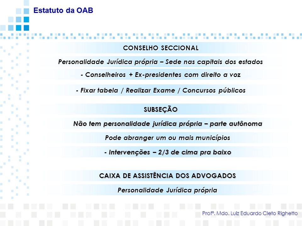CONSELHO SECCIONAL Personalidade Jurídica própria – Sede nas capitais dos estados Estatuto da OAB Profº. Mdo. Luiz Eduardo Cleto Righetto - Fixar tabe