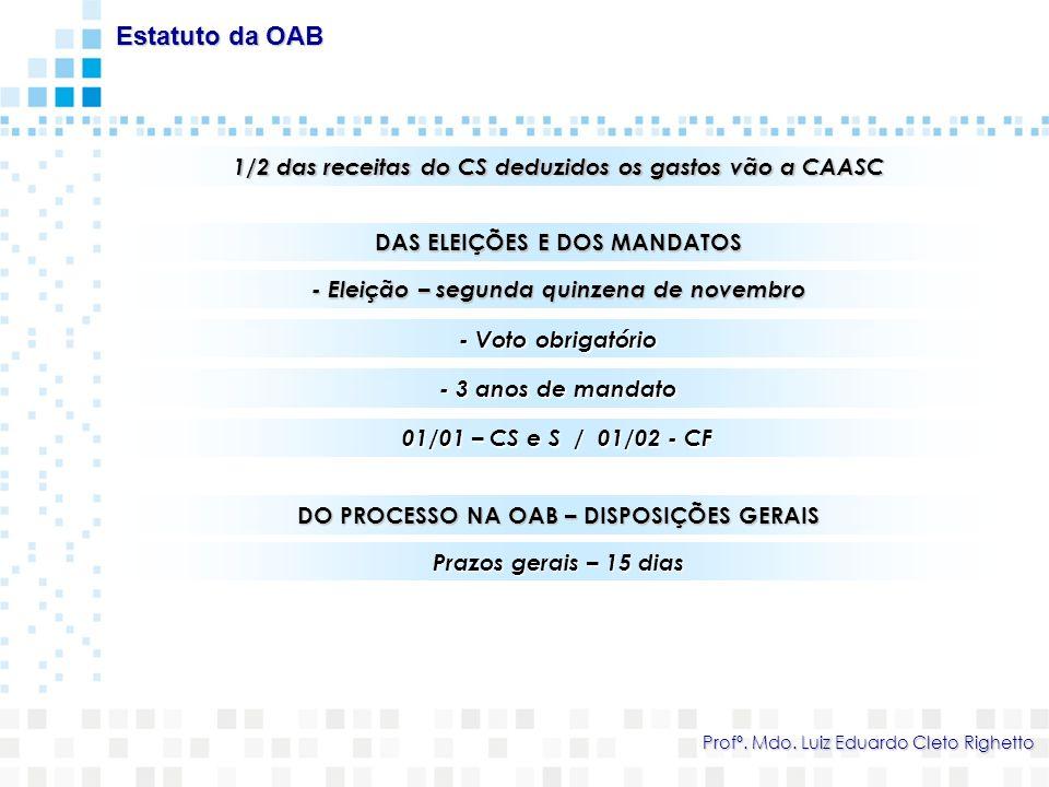 1/2 das receitas do CS deduzidos os gastos vão a CAASC Estatuto da OAB Profº. Mdo. Luiz Eduardo Cleto Righetto DAS ELEIÇÕES E DOS MANDATOS - Eleição –