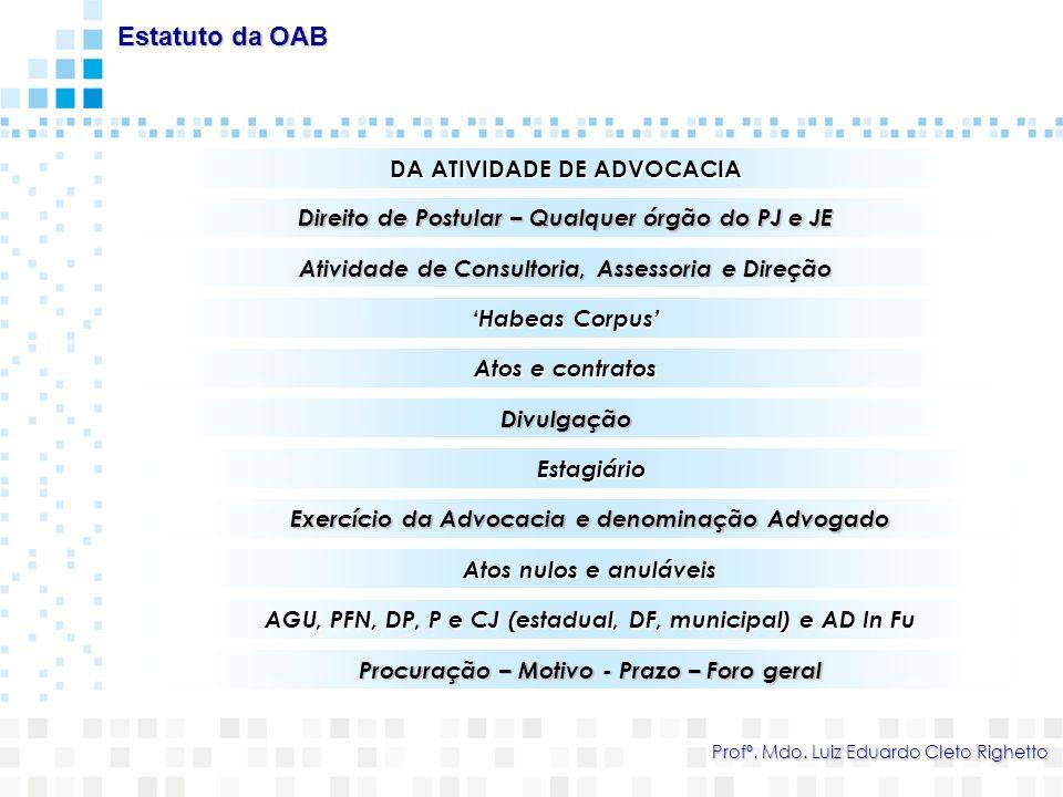 CONSELHO SECCIONAL Personalidade Jurídica própria – Sede nas capitais dos estados Estatuto da OAB Profº.