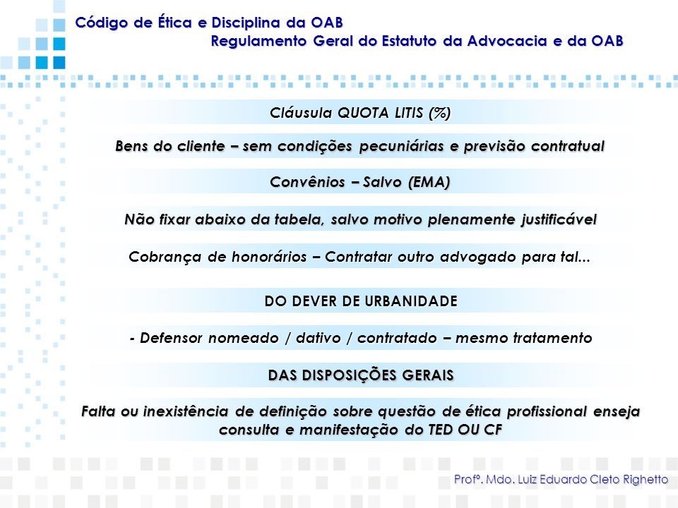 Código de Ética e Disciplina da OAB Regulamento Geral do Estatuto da Advocacia e da OAB Profº. Mdo. Luiz Eduardo Cleto Righetto Cláusula QUOTA LITIS (