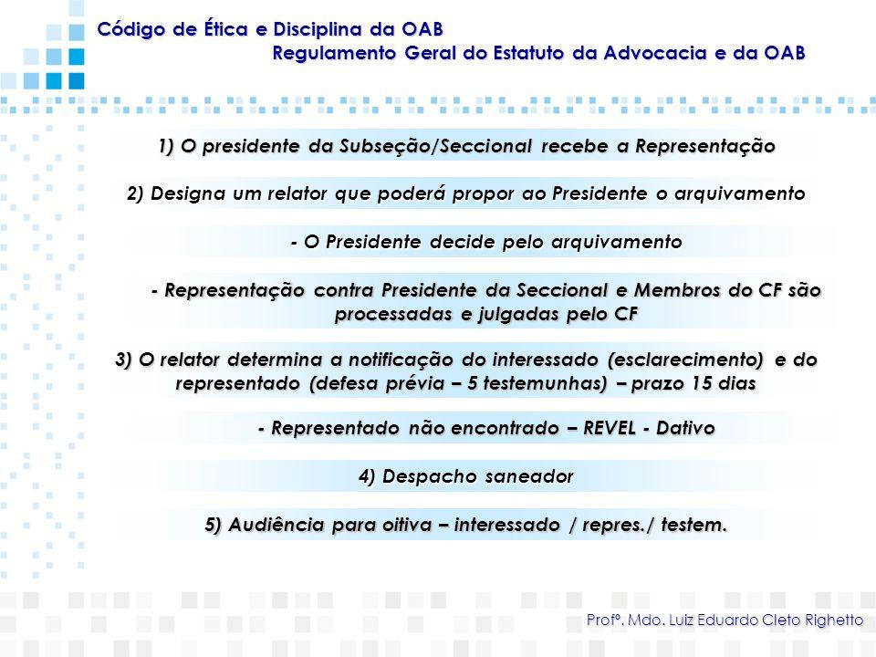 Código de Ética e Disciplina da OAB Regulamento Geral do Estatuto da Advocacia e da OAB Profº. Mdo. Luiz Eduardo Cleto Righetto 1) O presidente da Sub