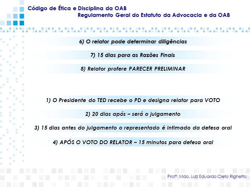 Código de Ética e Disciplina da OAB Regulamento Geral do Estatuto da Advocacia e da OAB Profº. Mdo. Luiz Eduardo Cleto Righetto 6) O relator pode dete