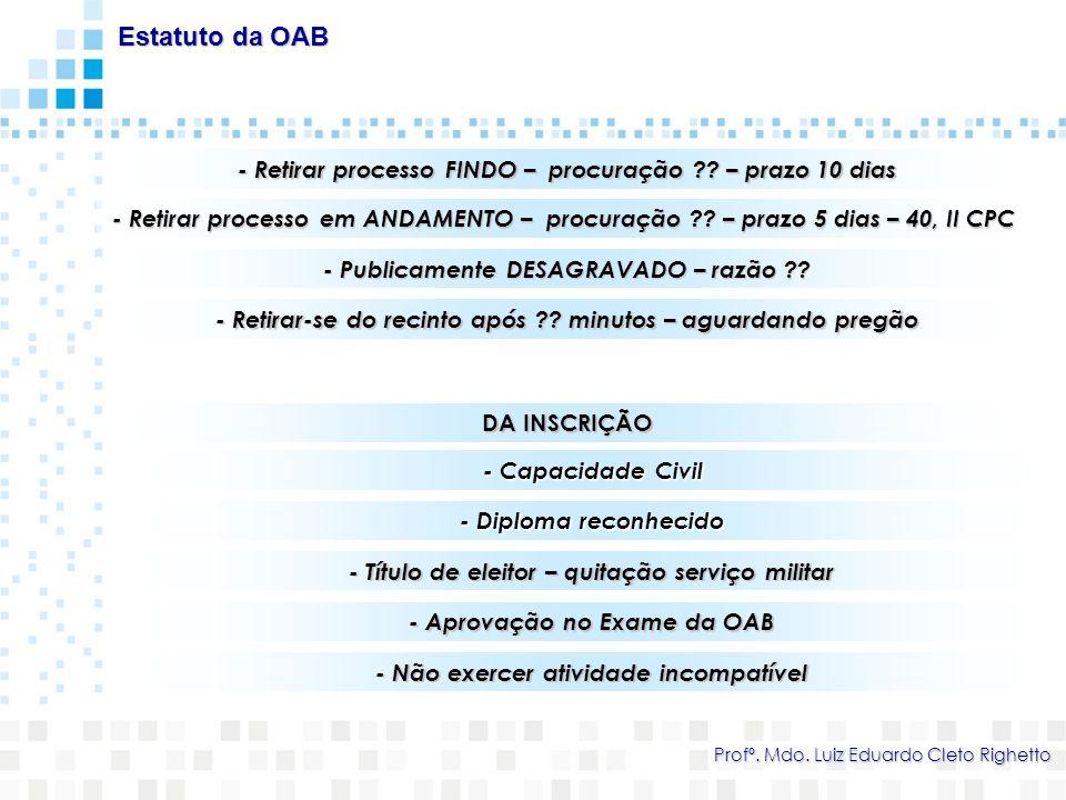 a) Patrocinar interesses ligados a outras atividades estranhas à advocacia em que também atue – ADVOGADO X IMOBILIÁRIA Código de Ética e Disciplina da OAB Regulamento Geral do Estatuto da Advocacia e da OAB Profº.