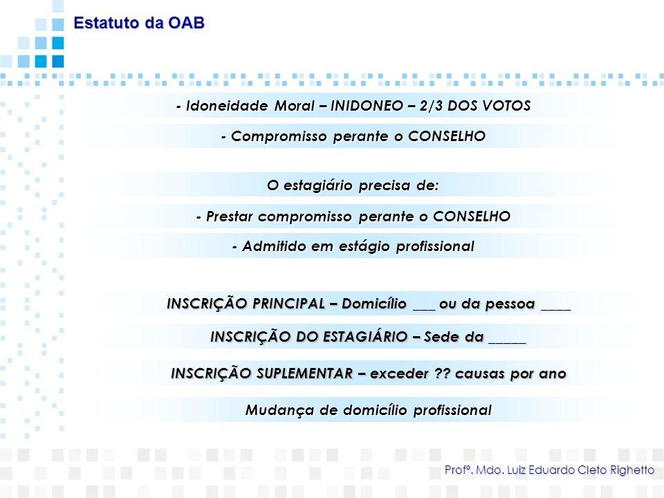 1) CANCELA-SE - Requerer / Exclusão / Falecer / Atividade incompatível de caráter definitivo (Desembargador do TJSC) / Perder requisitos da inscrição Estatuto da OAB Profº.