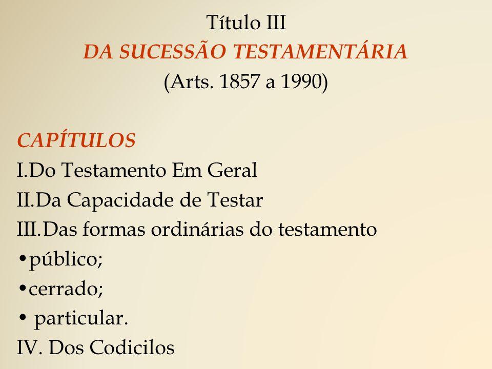 Título III DA SUCESSÃO TESTAMENTÁRIA (Arts.