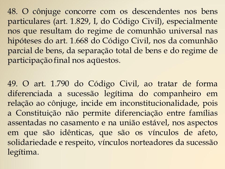 48.O cônjuge concorre com os descendentes nos bens particulares (art.