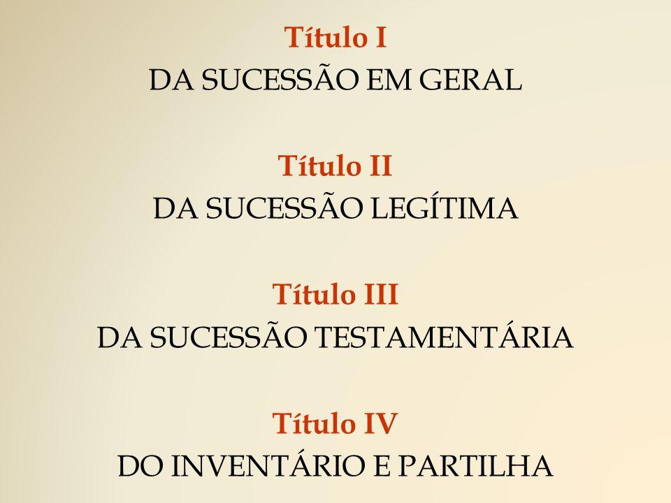 Título I DA SUCESSÃO EM GERAL (Arts.