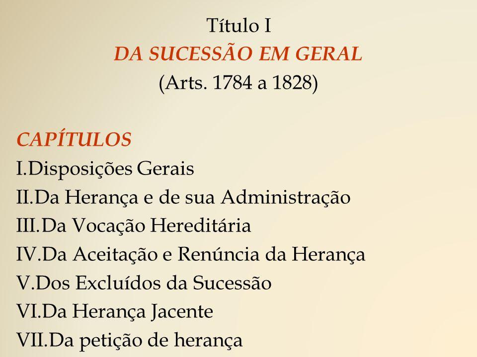 Título II DA SUCESSÃO LEGÍTIMA (Arts.