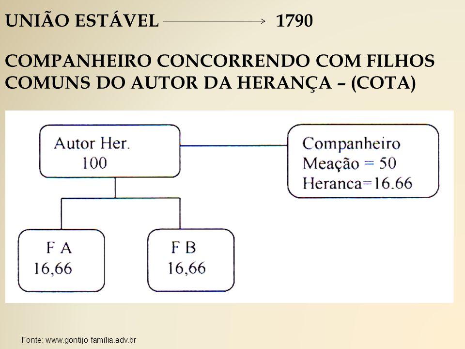 Fonte: www.gontijo-família.adv.br UNIÃO ESTÁVEL 1790 COMPANHEIRO CONCORRENDO COM FILHOS COMUNS DO AUTOR DA HERANÇA – (COTA)