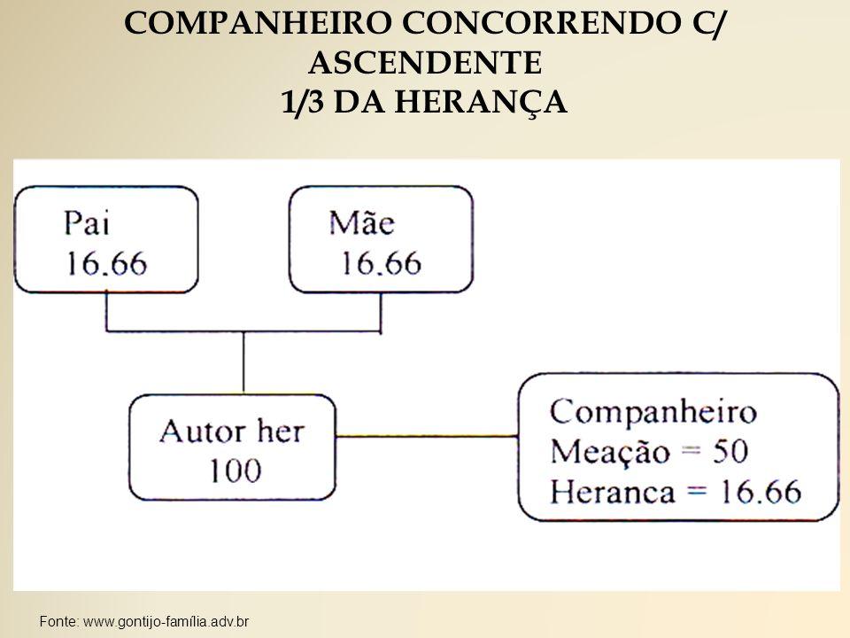 Fonte: www.gontijo-família.adv.br COMPANHEIRO CONCORRENDO C/ ASCENDENTE 1/3 DA HERANÇA