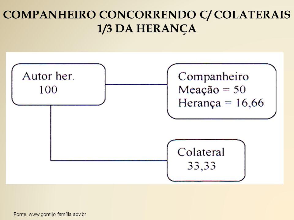 Fonte: www.gontijo-família.adv.br COMPANHEIRO CONCORRENDO C/ COLATERAIS 1/3 DA HERANÇA