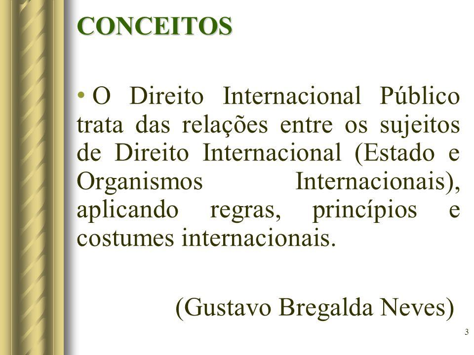 3 CONCEITOS O Direito Internacional Público trata das relações entre os sujeitos de Direito Internacional (Estado e Organismos Internacionais), aplicando regras, princípios e costumes internacionais.