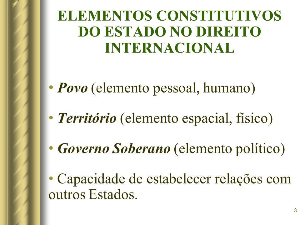 8 ELEMENTOS CONSTITUTIVOS DO ESTADO NO DIREITO INTERNACIONAL Povo (elemento pessoal, humano) Território (elemento espacial, físico) Governo Soberano (elemento político) Capacidade de estabelecer relações com outros Estados.