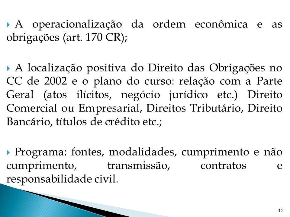 A operacionalização da ordem econômica e as obrigações (art. 170 CR); A localização positiva do Direito das Obrigações no CC de 2002 e o plano do curs