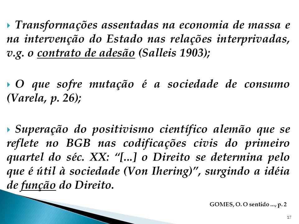 Transformações assentadas na economia de massa e na intervenção do Estado nas relações interprivadas, v.g. o contrato de adesão (Salleis 1903); O que
