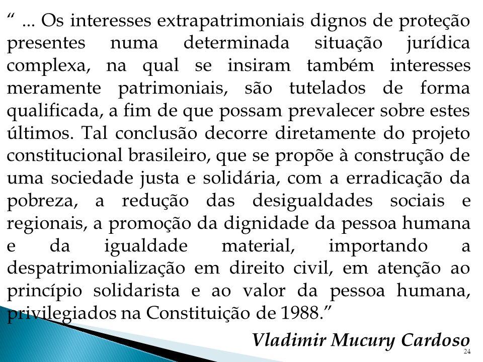 24... Os interesses extrapatrimoniais dignos de proteção presentes numa determinada situação jurídica complexa, na qual se insiram também interesses m