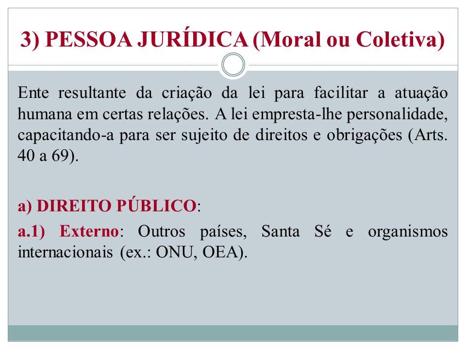 3) PESSOA JURÍDICA (Moral ou Coletiva) Ente resultante da criação da lei para facilitar a atuação humana em certas relações. A lei empresta-lhe person