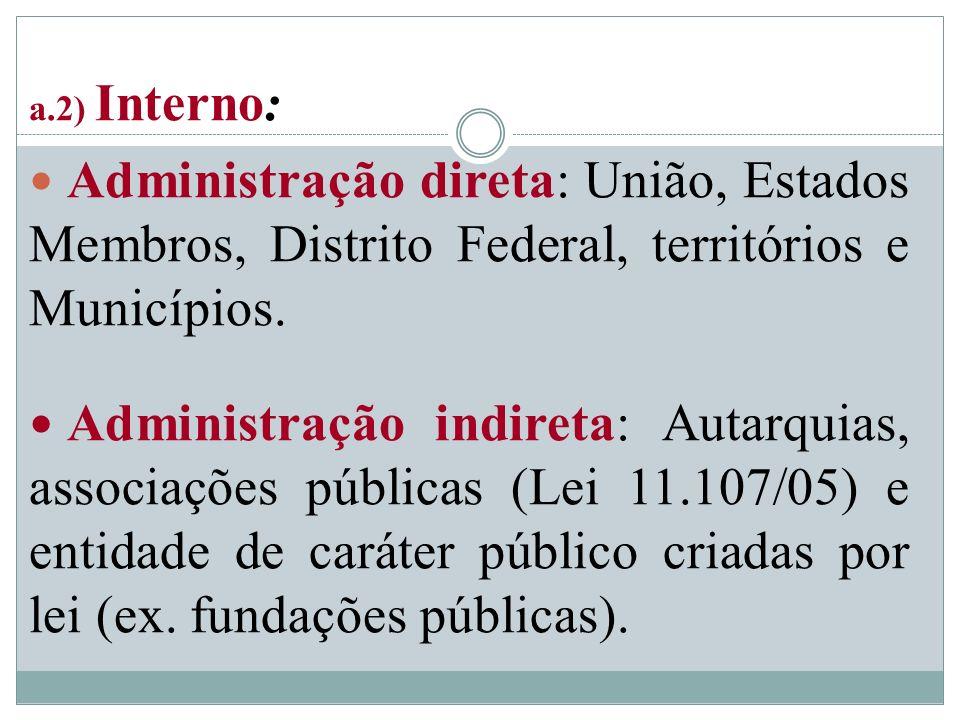 a.2) Interno: Administração direta: União, Estados Membros, Distrito Federal, territórios e Municípios. Administração indireta: Autarquias, associaçõe