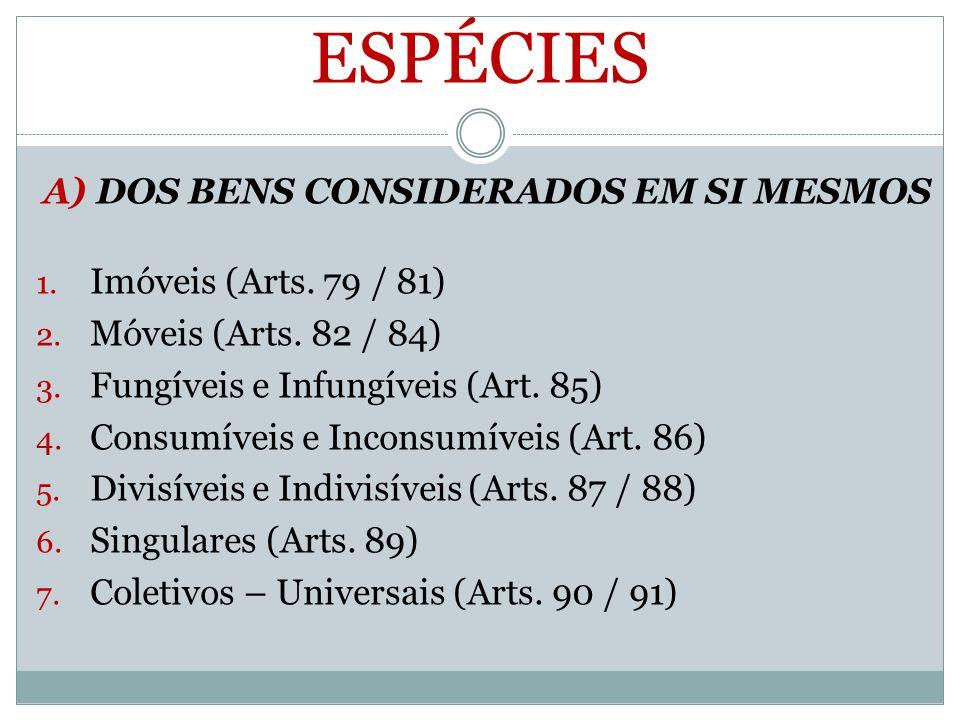 ESPÉCIES A) DOS BENS CONSIDERADOS EM SI MESMOS 1. Imóveis (Arts. 79 / 81) 2. Móveis (Arts. 82 / 84) 3. Fungíveis e Infungíveis (Art. 85) 4. Consumívei